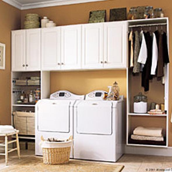 salle lavage rangement armoires