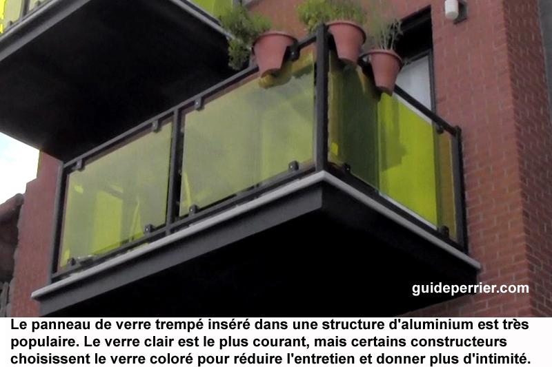verre trempe rampe aluminium