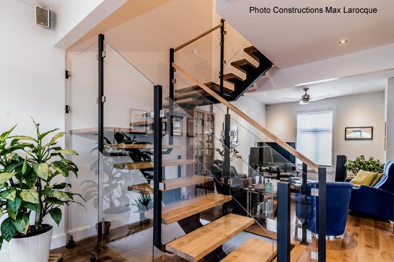 escalier verre metal