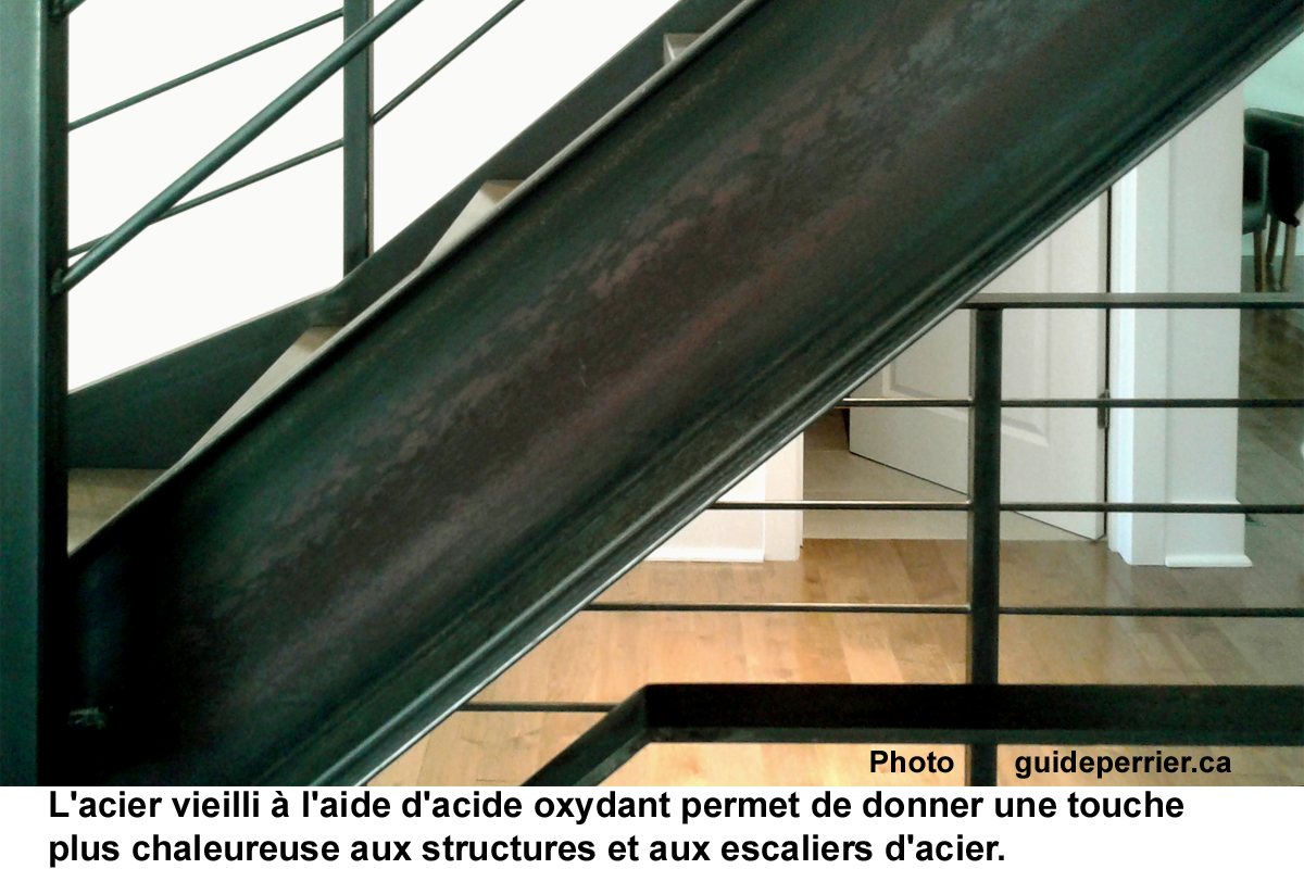 Peinture Escalier Noir Mat escaliers d'acier: une patine vieillie, matte et naturelle